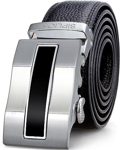 Mens Belt Genuine Leather Ratchet Belt for Men with Automatic Sliding Buckle Black 35mm Wide 125CM(47)Trim to Exact Fit