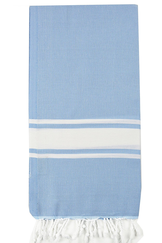 Nature Is Gift Turkish Cotton Bath Beach Spa Sauna Hammam Yoga Gym Hamam Towel Fouta Peshtemal Pestemal Blanket (Fouta Lightblue)