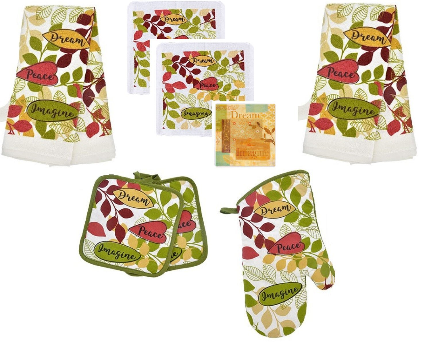 Home Collection Dream Peace Imagine 8 Piece Kitchen Set - 2 kitchen Dish Towels, 2 Pot Holders, 2 Dish Cloths, Oven Mitt and Bonus Matching Coaster