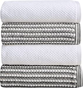 4-Piece Bath Towel Set. 100% Cotton Multi-Striped Bathroom Towels. Quick Dry and Absorbent Towels. Set Includes 4 Bath Towels. Milos Collection (4 Pack, Dark Gray / Light Gray)