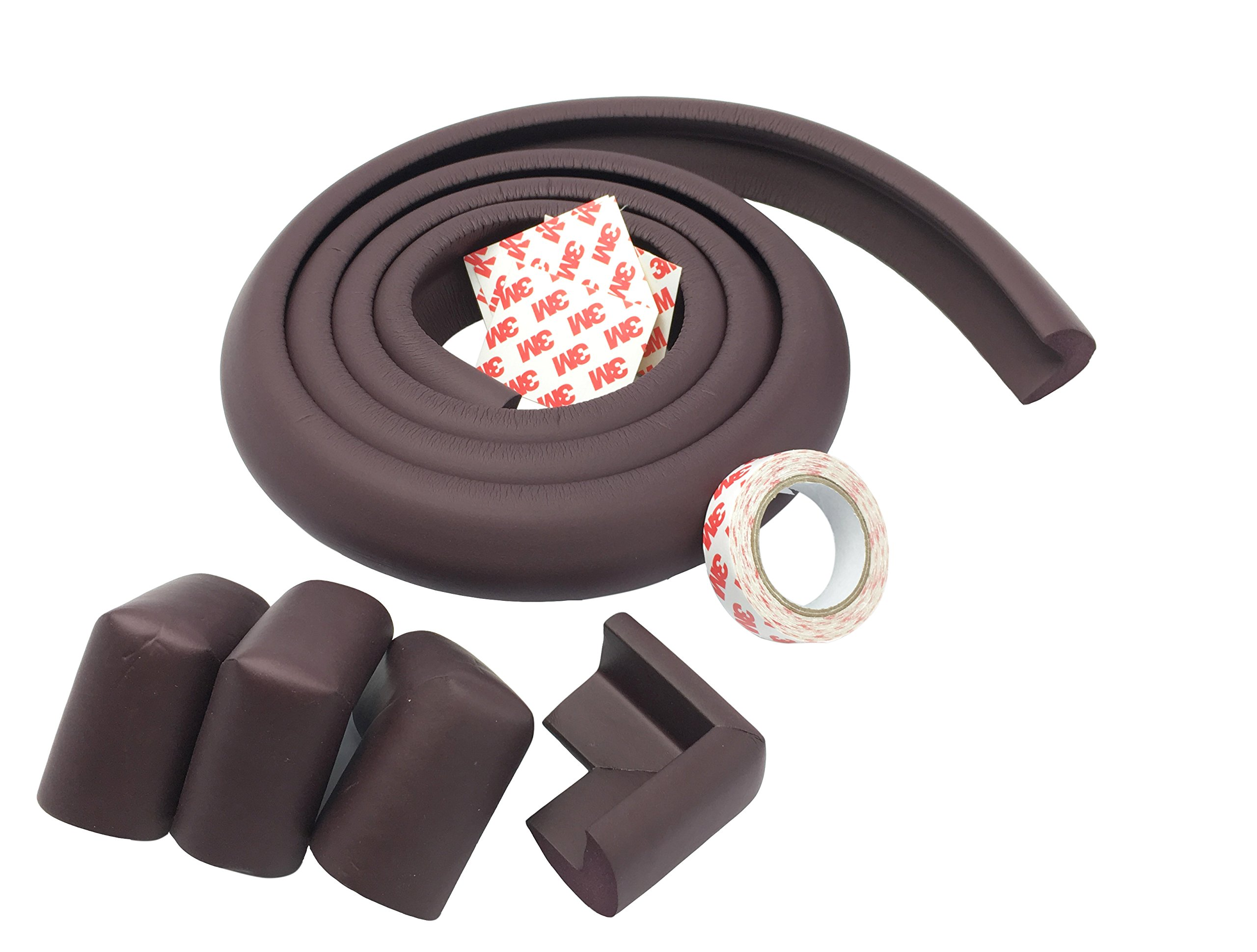 Foam High Density Furniture Table Edge Protector and Corner Protectors(Pack of 4) for Baby Safety Bumper Guard Set 6.5 Feet (2 Meter) (Brown)