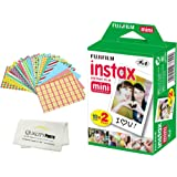 Fujifilm INSTAX Mini Instant Film 2 Pack - 20 Sheets - (White) for Fujifilm Instax Mini 8 & Mini 9 Cameras + Frame Stickers and Microfiber Cloth Accessories …