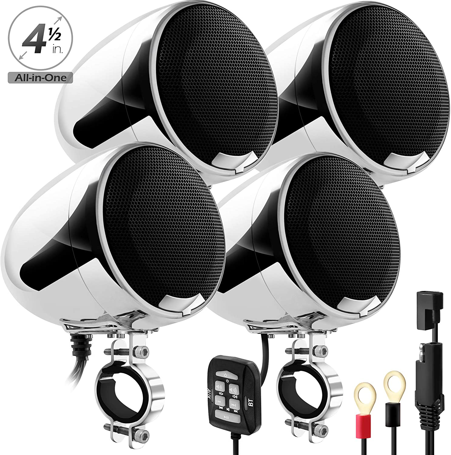 """GoHawk AN4-QX All-in-One 1200W Built-in Amplifier 4.5"""" Waterproof Bluetooth Motorcycle Stereo 4 Speakers Audio Amp System AUX for 1-1.5"""" Handlebar Harley CVO Touring Cruiser Custom Can-Am ATV"""