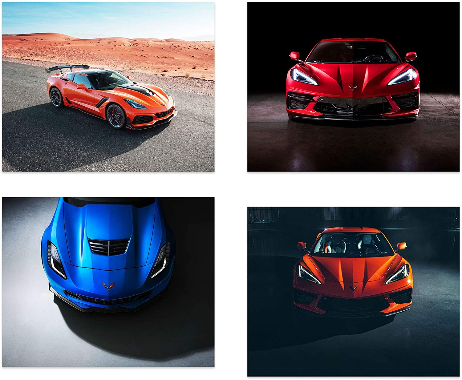 Corvette Car Poster Prints - Set of 4 Unframed (10 inches x 8 inches) Sports Car Wall Art - Z06 - 2020 Stingray - ZR1 - Sportscar Wall Art for Men Boys Teen Bedroom Decor, Gifts, Office, Supercar