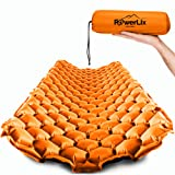 POWERLIX Sleeping Pad - Ultralight Inflatable Sleeping Mat, Best Self Serving Pad for Camping, Backpacking, Hiking - Airpad, Inflating Bag, Carry Bag, Repair Kit - Compact & Lightweight Air Mattress (Color: Orange & Black)