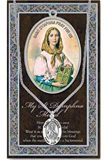 St Dymphna Pendant Medal Pewter on 18 inch Stainless Chain with Prayer