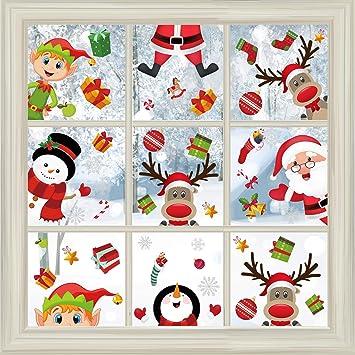 Christmas Window Stickers Cartoon Santa Snowman Art Wall Decal Home Office Decor