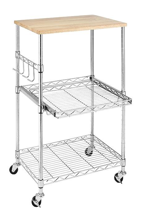Whitmor Supreme Microwave Cart Wood U0026 Chrome