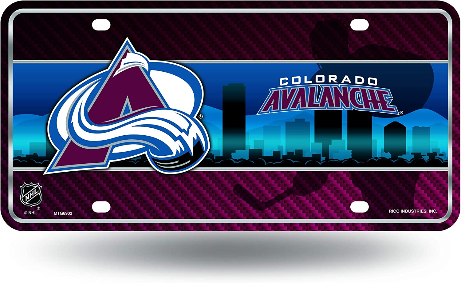 Rico Industries NHL Colorado Avalanche Metal License Plate Tag