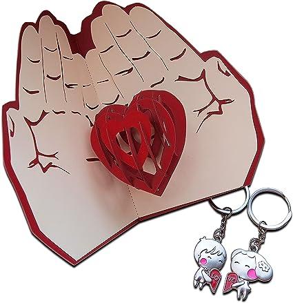 Tarjeta de felicitación 3D con llavero de pareja y amantes del ...