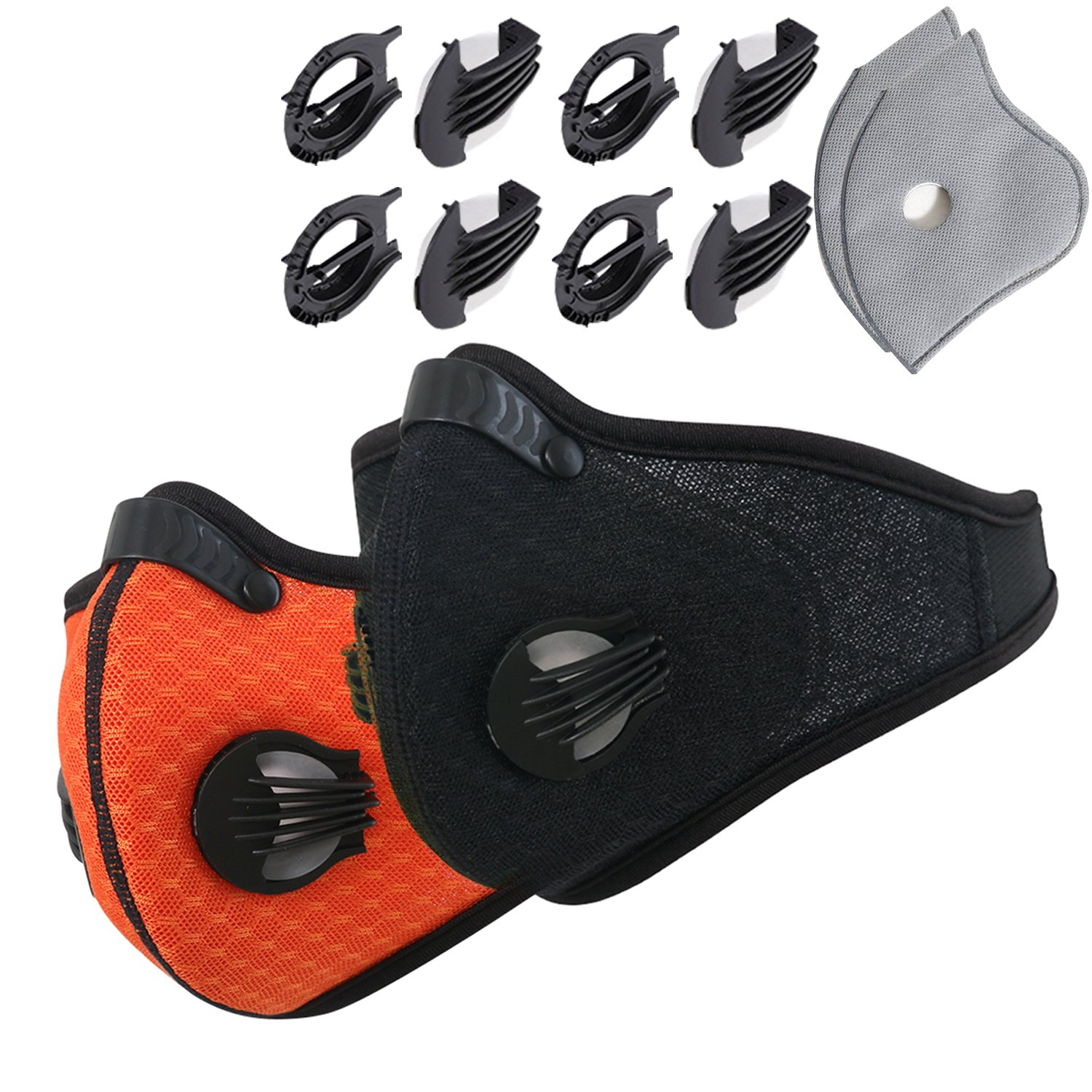 Dustproof Masks - Activated Carbon Dust Mask with Extra Filter Cotton Sheet and Valves for Exhaust Gas, Pollen Allergy, PM2.5, Running, Cycling, Outdoor Activities (2 Set Black and Orange, Dust Masks)