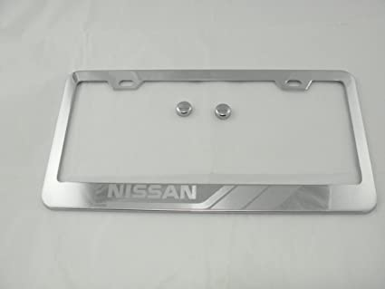 Amazon.com: Nissan Chrome License Plate Frame with Caps: Automotive
