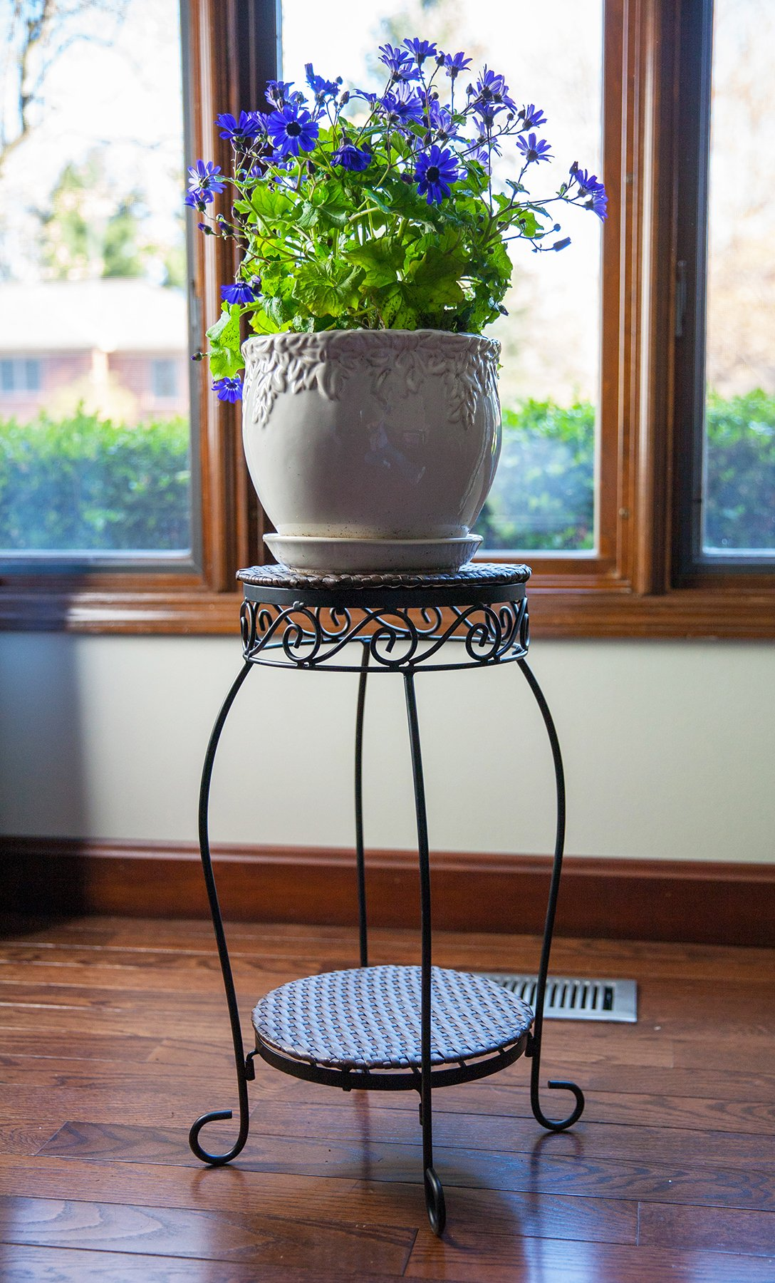 20'' Double Resin Woven Plant Stand, Espresso Brown, Black Wire Frame, 6/cs by Panacea