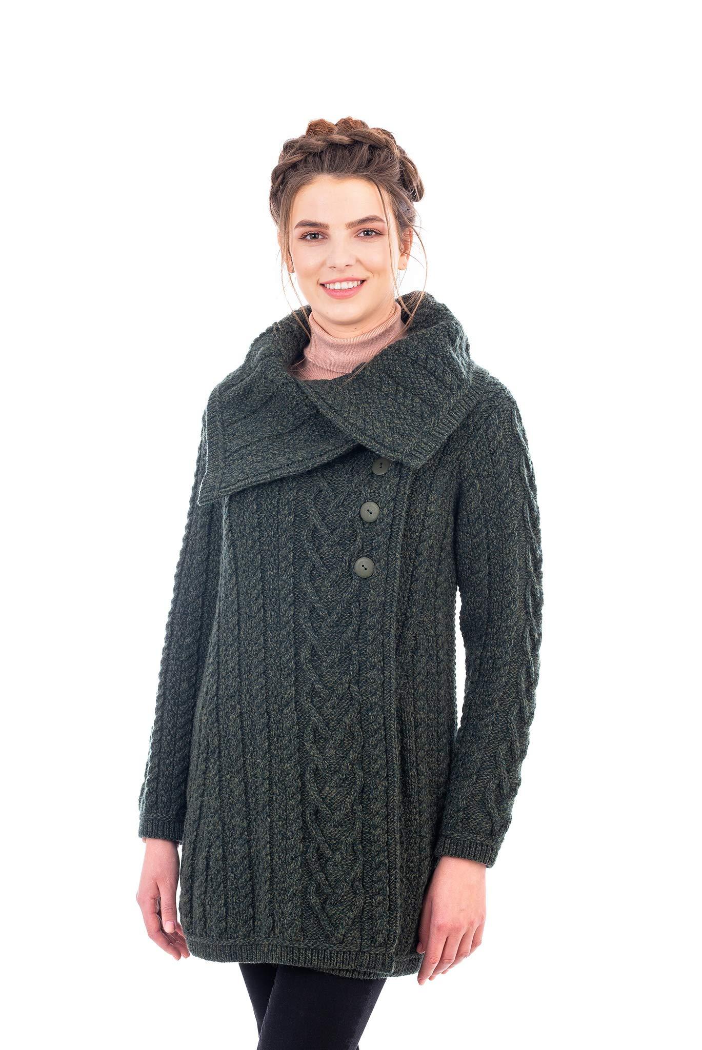 SAOL 100% Merino Wool Women Classic Cable Knit Cardigan Irish Coat with Pockets