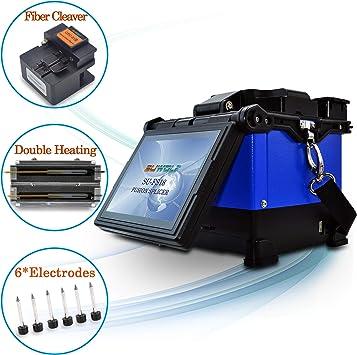 SUWOLF FTTH Doble Caja de Calentamiento Empalmadoras de Fusión de Fibra Óptica/Optical Fiber Fusion Splicer, 5 Pulgadas LCD Empalme de Fusión de Fibra con Cortador de Fibra y 6*Electrodos: Amazon.es: Bricolaje y