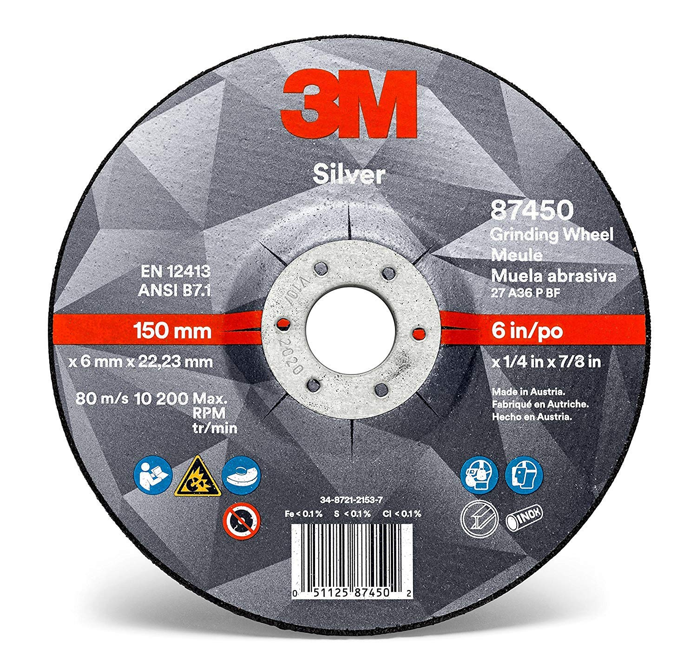 3M Silver Grinding Wheel AB87450, 6 in x 1/4 in x 7/8 in, Type 27 - Total 10 Wheels