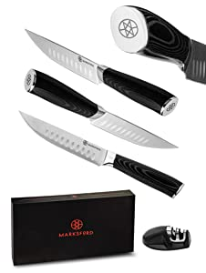 MARKSFORD Steak Knife Set of 4 | Premium Non-Serrated German Stainless Steel | Quality Straight Edge Cutlery w/Micarta Wood | Professional Steak Knives for Home, Kitchen, Restaurant | Inc Sharpener
