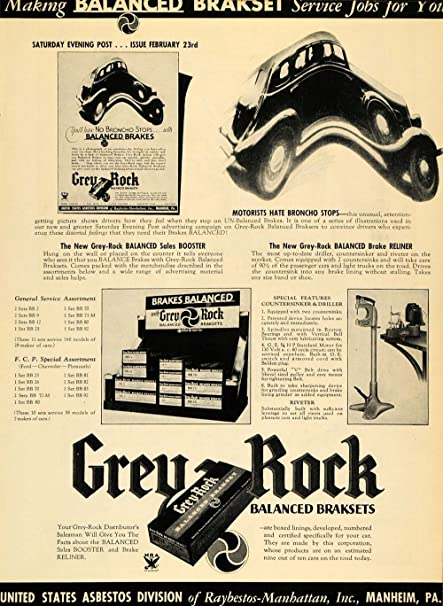 1935 Ad Grey Rock Balanced Braksets Asbestos Manheim