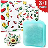 Beeswax Food Wraps +Silicone Reusable Food Bag. Plastic Free Starter Pack for Sustainable Products Lifestyle. No Waste Products to Keep Food Fresh 3 Premium bees wraps (S,M,L) included with Food bag.