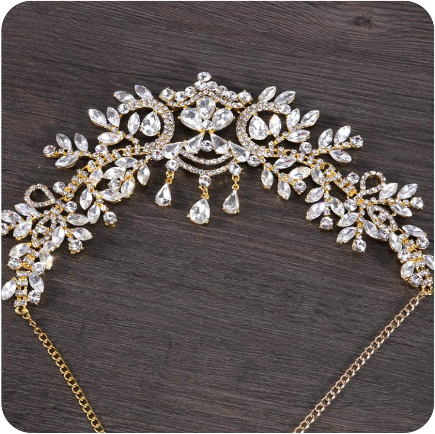 Bluecandy crownDiadema con diamantes de imitación, accesorio para el cabello, tiaras, corona nupcial, joyería para la frente del pelo, joyería, Talla única, Dorado,
