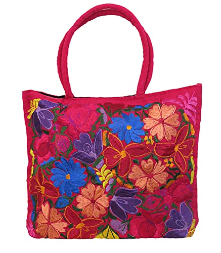 Mexican Flowers Embroidery Large Purse (Magenta)  Handbags  Amazon.com