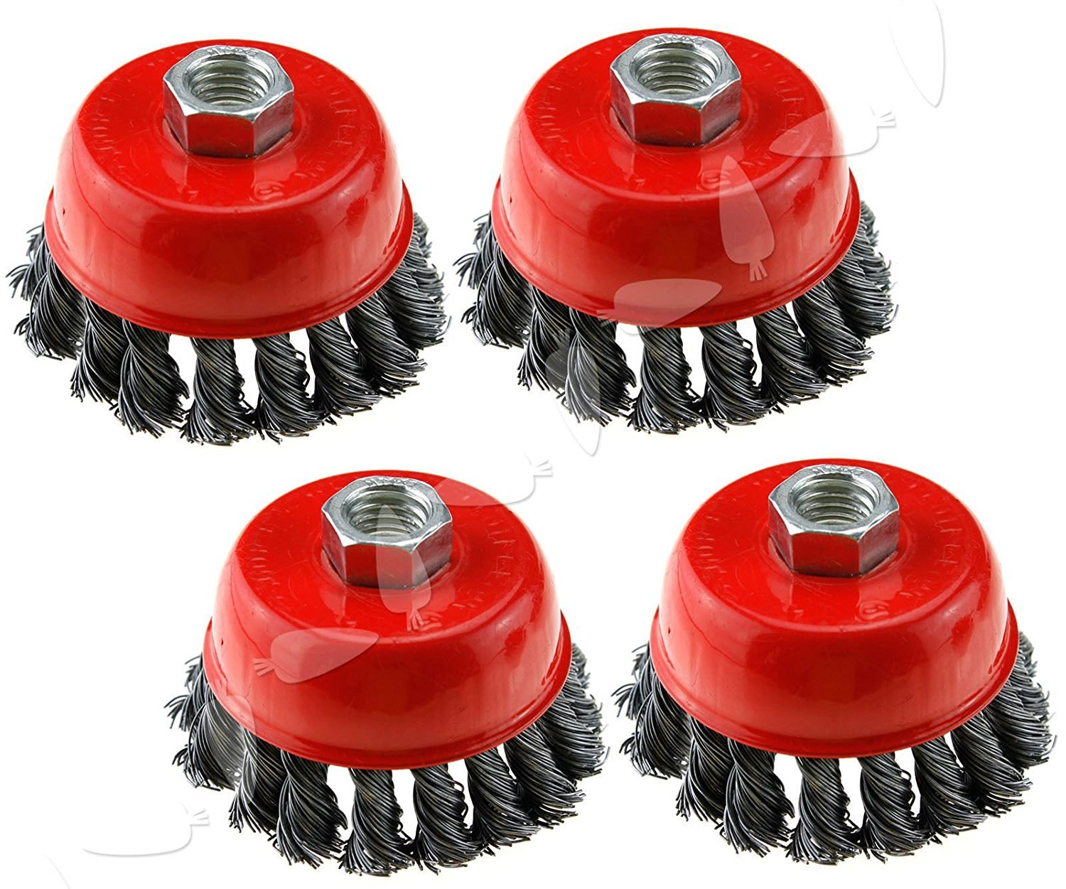 5-Inch (8 Pieces) Twist Knot Carbon Steel Wire Cup Brush metalworking surface treatment rust paints corrosion remove burnishing wheel fits Dewalt Roxx Tools Makita Metabo 5/8-11 grinder polisher