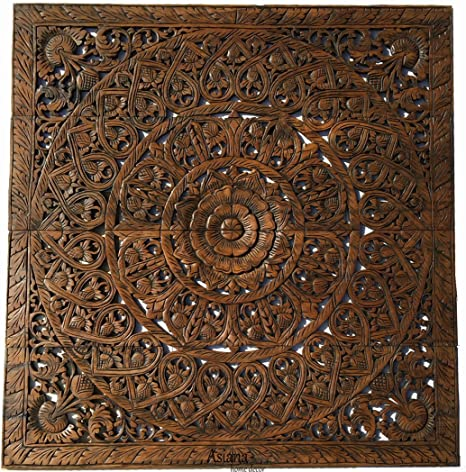 Amazon Com Large Tropical Wood Carved Wall Panels Headboard Floral Wood Wall Hanging Decorative Asian Home Decor 48 Dark Brown