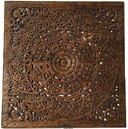 Amazon.com: Large Tropical Wood Carved Wall Panels. Headboard Floral ...