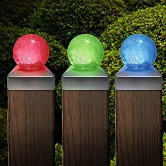 Solalite set of 6 solar colour changing led crackle glass ball solalite set of 6 solar colour changing led crackle glass ball garden post deck cap aloadofball Choice Image