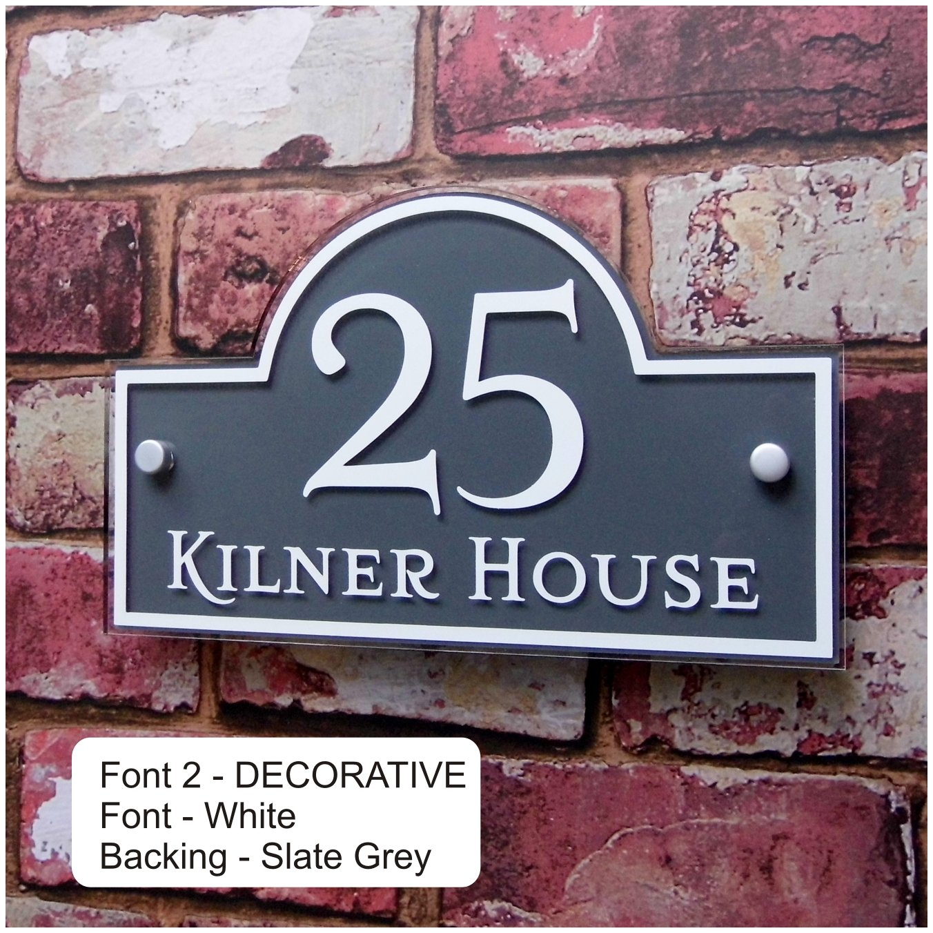 Modern House Address Plaque Glass Effect Name Plate Door Number