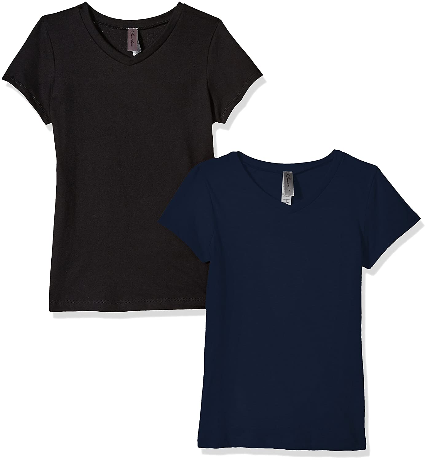 Clementine Apparel Women's 2 Pack Short Sleeve T Shirts Easy Tag V Neck Soft Cotton Blend Undershirt Tees (6640) Clementine Womens Child Code 2-CLM6640
