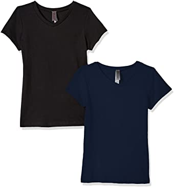 1a6740521 Amazon.com: Clementine Apparel Women's 2 Pack Short Sleeve T Shirts Easy  Tag V Neck Soft Cotton Blend Undershirt Tees (6640): Clothing