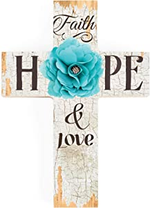 P. Graham Dunn Faith Hope & Love Turquoise Flower Distressed 7 x 5 Wood Wall Art Cross Plaque