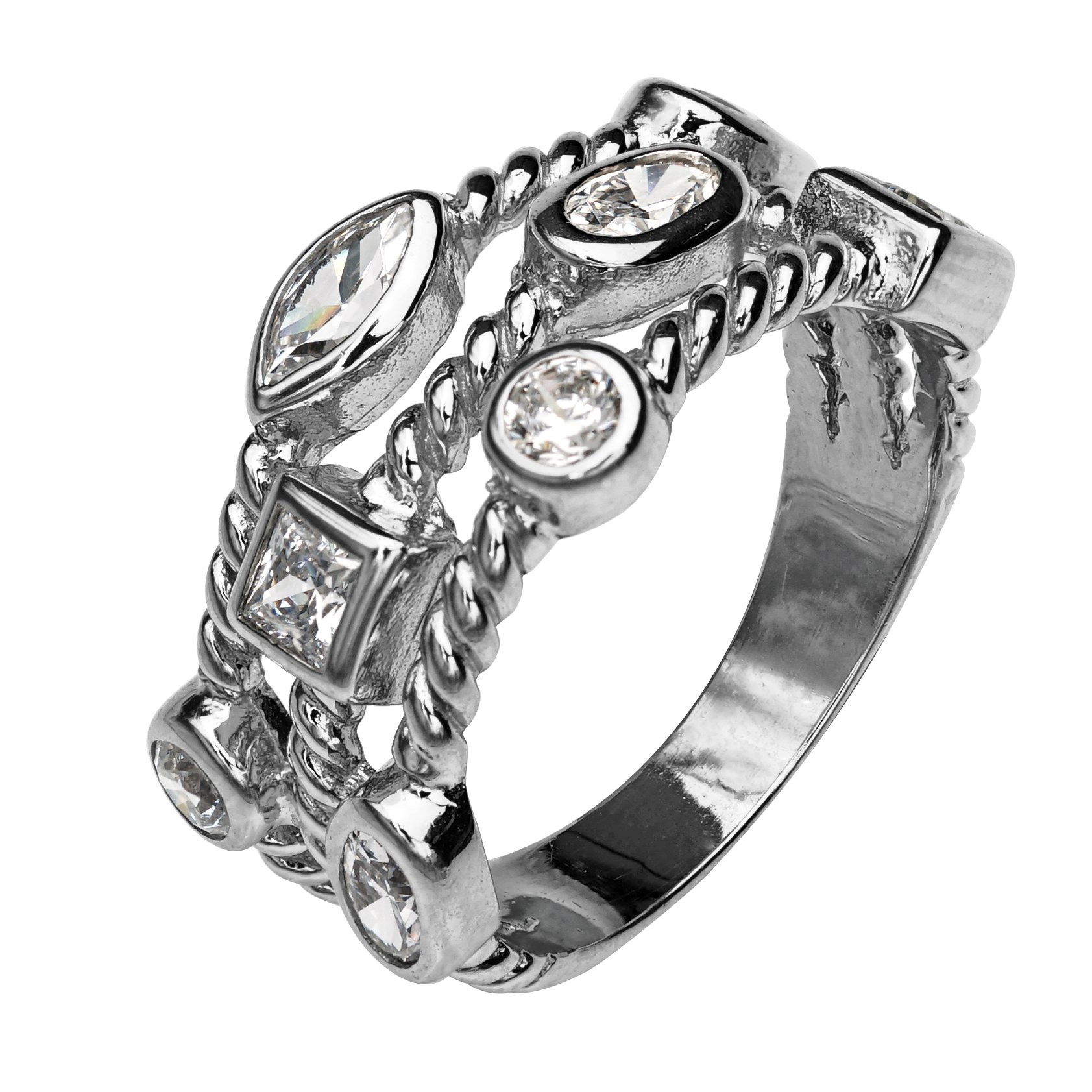 Paz Creations ♥925 Sterling Silver Cubic Zirconia Triple Row Band Ring (9), Made in Israel