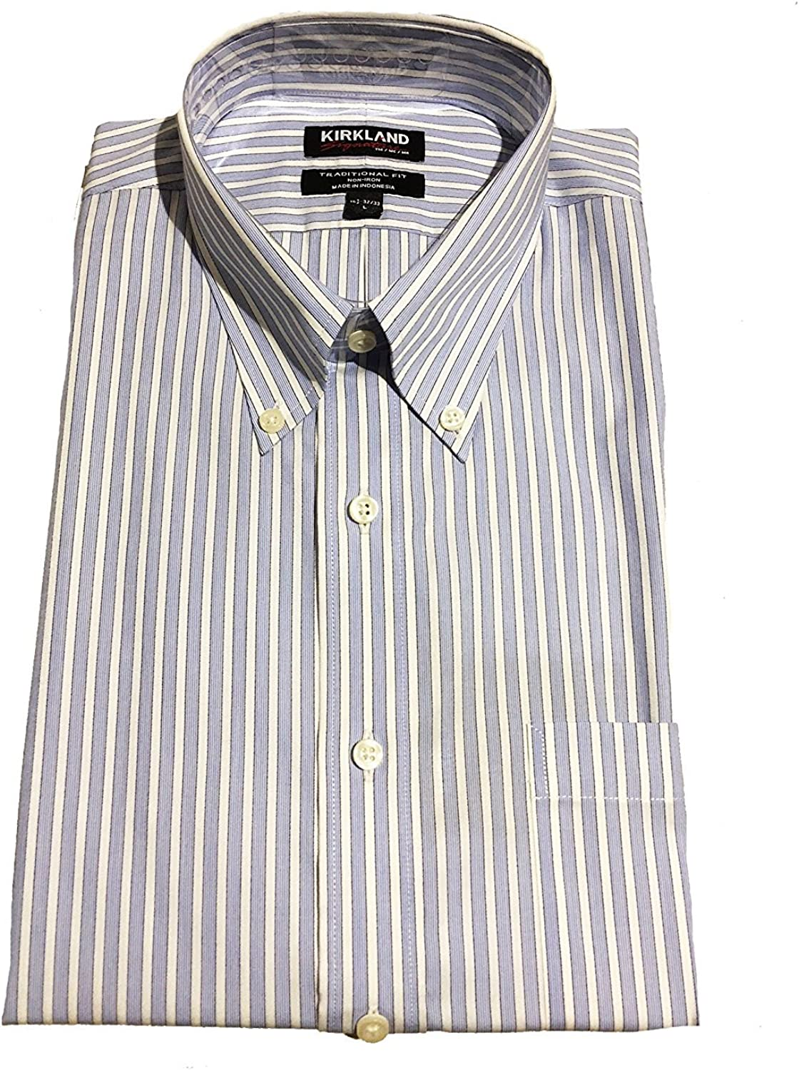 Kirkland Signature Button Up Dress Shirt Green//Blue//White Striped Various Sizes