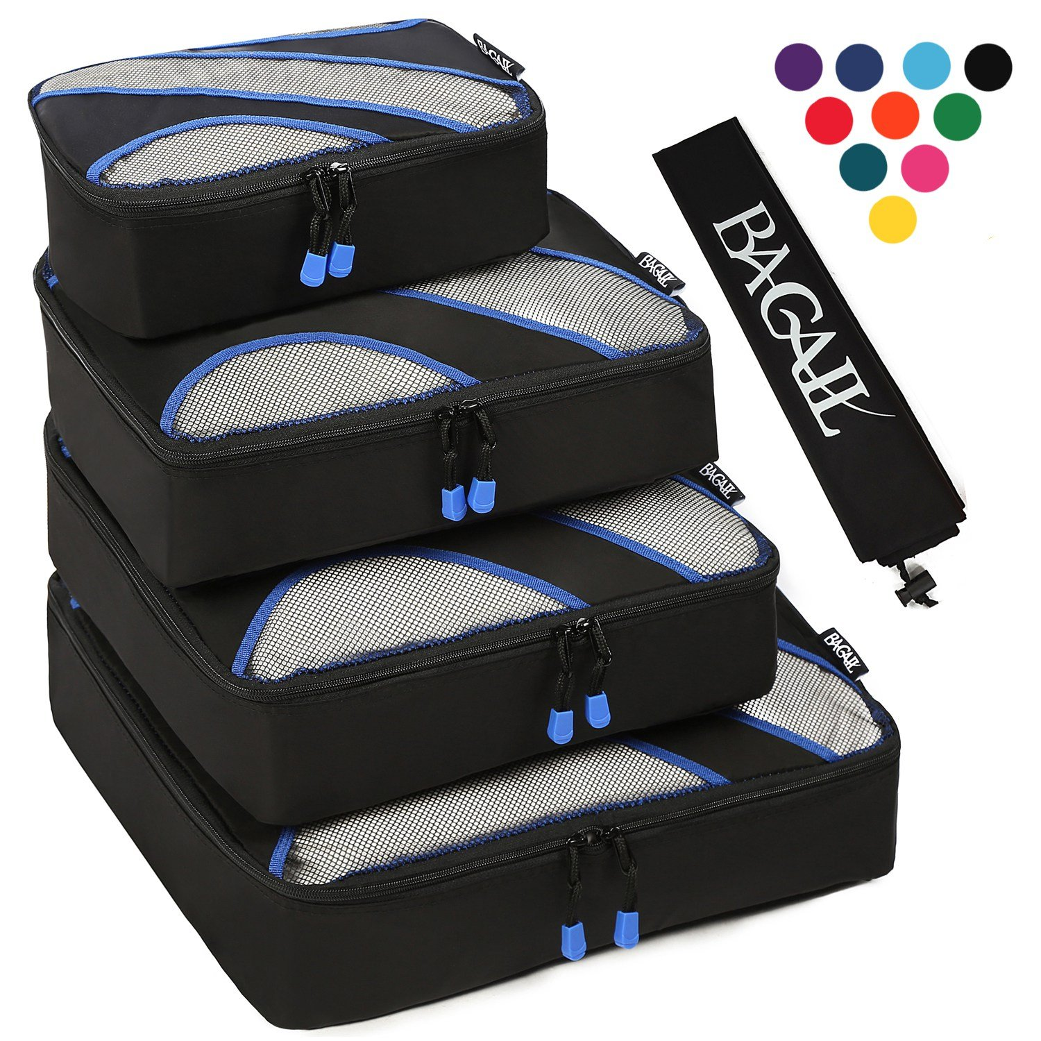 4 Set Packing Cubes,Travel Luggage Packing Organizers with Laundry Bag Black by BAGAIL