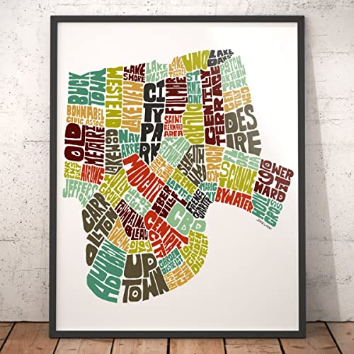 Amazon.com: NEW ORLEANS Map Art Print, Typography Map Art, City Map ...