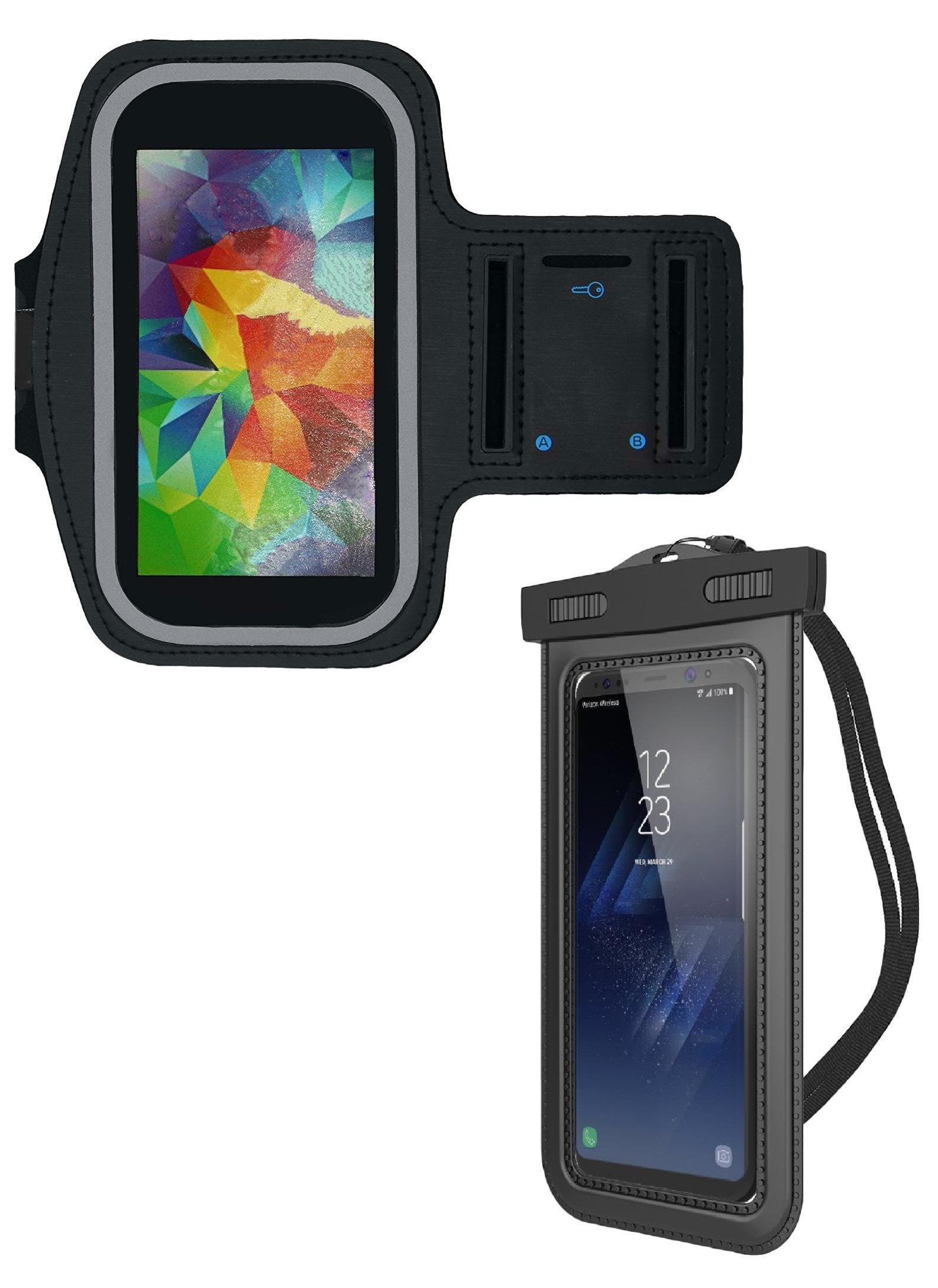 RJA Enterprises Universal Waterproof Cell Phone Case Bundle for Smartphones | Includes Armband Case For Exercise and Carrying Case For Everyday Use | Compatible With Both iPhone and Android Models