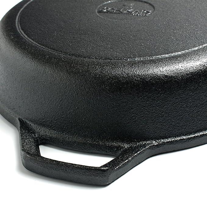 Schukaps Sarten de Hierro Fundido (Tipo Grill) Grande 26 x 5 cm - 10.25 Pulgadas Color Negro: Amazon.es: Hogar