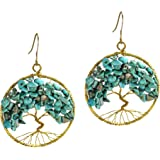 Eternal Tree of Life Simulated Turquoise Stone Branch Brass Dangle Earrings