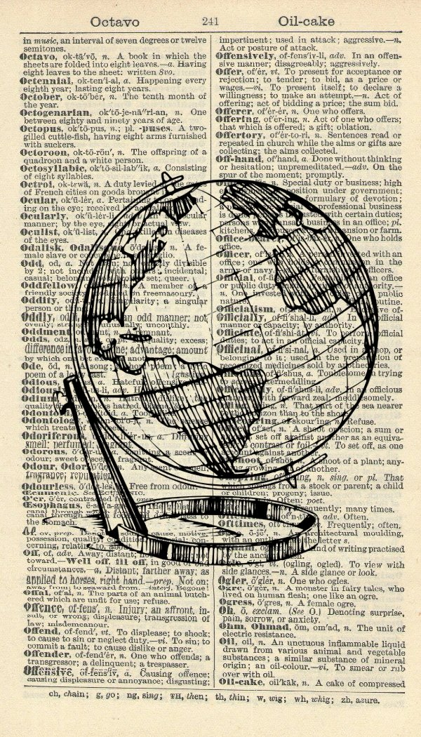 Globe Art Print – Antique Globe Art Print – Vintage Travel Artwork - Vintage Art – Room Décor - Vintage Dictionary Art – Illustration – Wall Hanging – Wall Art - Book Print 595B