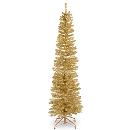 National Tree 6 Foot Champagne Gold Tinsel Tree With Metal Stand Tt33 702 60