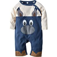 BIG ELEPHANT Baby Boys' 1 Piece Cute Long Sleeve Romper Jumpsuit Clothes H02
