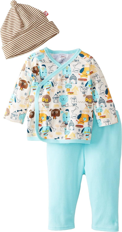 Zutano Baby-Boys Newborn Woof Club Kimono Top with Pant and Hat Set