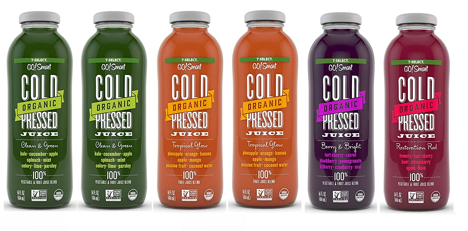 Cold Pressed Juice >> Amazon Com 7 Select Organic Cold Pressed Juice Variety Pack 14
