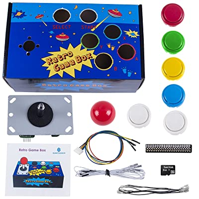 SunFounder Raspberry Pi Retro Game Box DIY Arcade Fighting Joystick Push Buttons Controller for RetroPie Raspberry Pi 3/2/B+ with TF 8g Card
