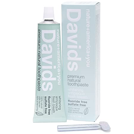Davids Natural Toothpaste, Whitening, Antiplaque, Fluoride Free, Sls Free, Peppermint, 5.25 Oz Metal Tube, Tube Roller Included by Davids