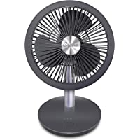 """Crane 7"""" Rechargeable Cordless 4 Speed Portable Fan EE-5618, 12 Hour Whisper Quite Operation, Tiltable Head, Brushed…"""