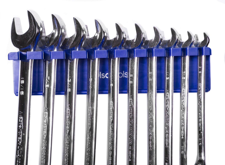 Olsa Tools | Magnetic Wrench Organizer | Fits SAE 3/8' thru 15/16' & Metric 10mm thru 19mm | Premium Quality Tool Organizer (BLUE)