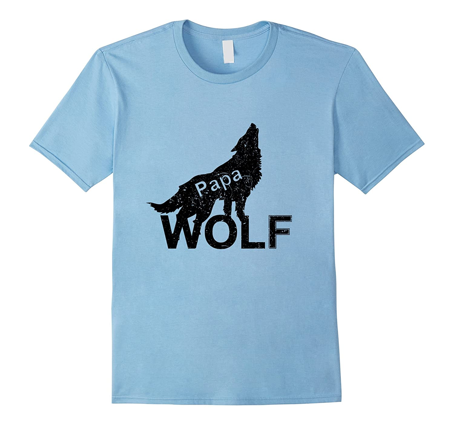 Wolf Papa T-shirt Funny Gift Father's Day Men Pet Lover Tee-TH